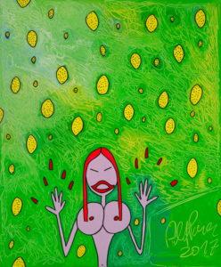 Dem leptosomen Mädchen fliegen im sauren Zitrusregen die Fingernägel davon (Acryl auf Leinwand, 120 x 100 cm, 2017)